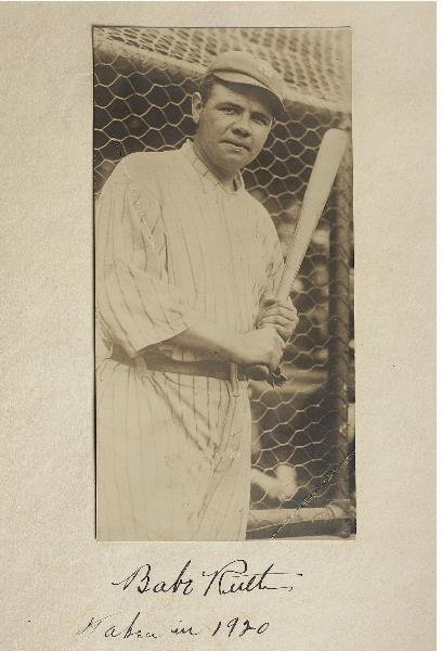 15: 1920 Original Photo of Babe Ruth Mounted on Album P