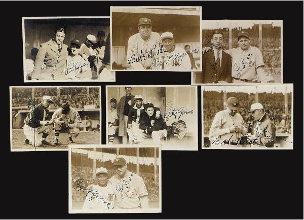19: Seven Signed Snapshots of US Players w/ Japanese Pl