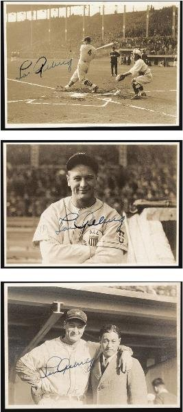 20: Three Lou Gehrig Signed Snapshots, 1934 Tour of Jap