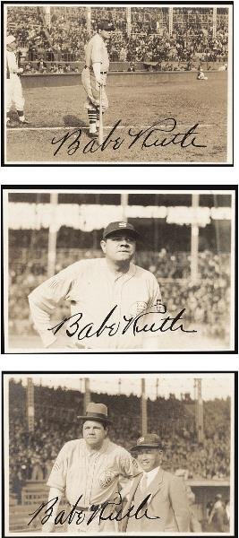 21: Three Babe Ruth Signed Snapshots, 1934 Tour of Japa