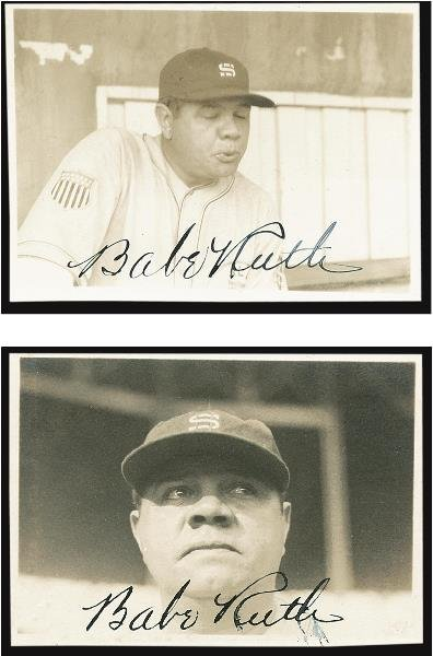 23: Pair of Babe Ruth Signed Snapshots, 1934 Tour of Ja