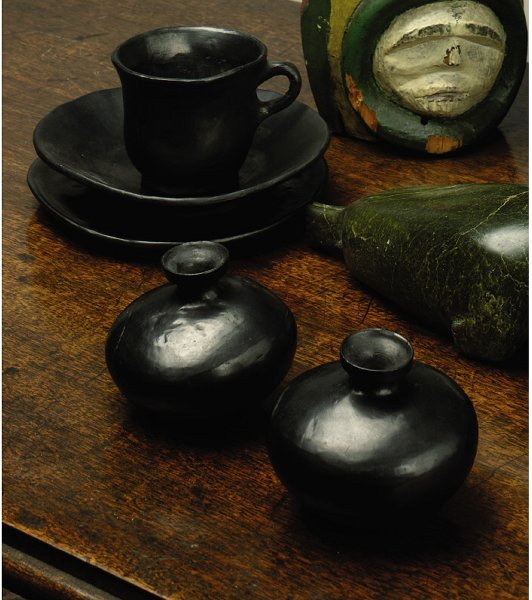 235: A GROUP OF MEXICAN BLACK EARTHENWARE