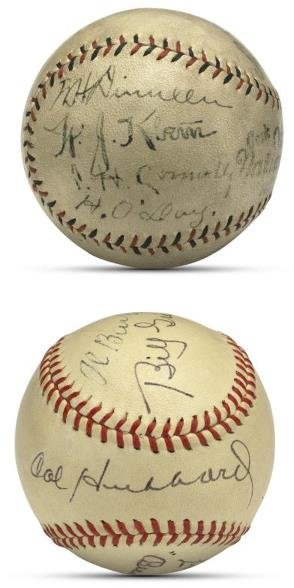 6: Two Mixed Umpire Signed Baseballs Including 1920 Wor