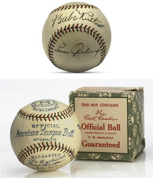 12: Babe Ruth and Lou Gehrig Signed Baseball With Origi