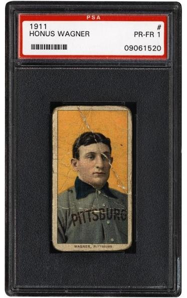 19: T206 Honus Wagner PSA 1 FR-GD      Over the course