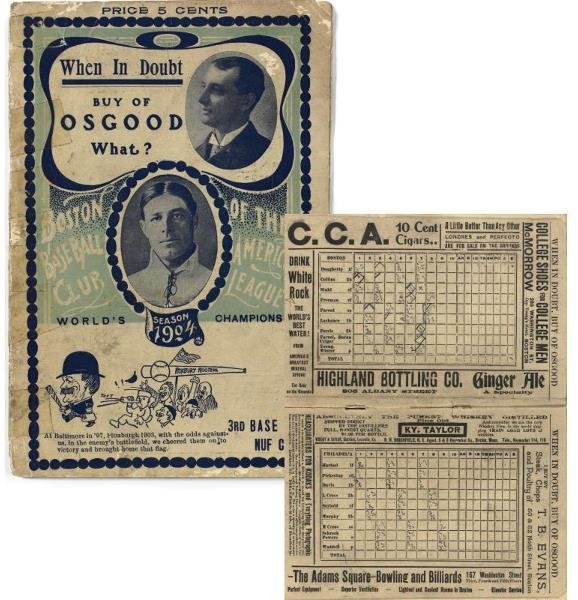 167: Only Known Scorecard From Cy Young's 1904 Perfect