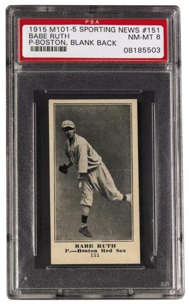 174: 1915 M101-5 The Sporting News #151 Babe Ruth PSA 8