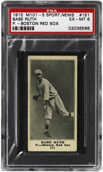 175: M101-5 Sporting News Babe Ruth PSA 6 EX-MT      To