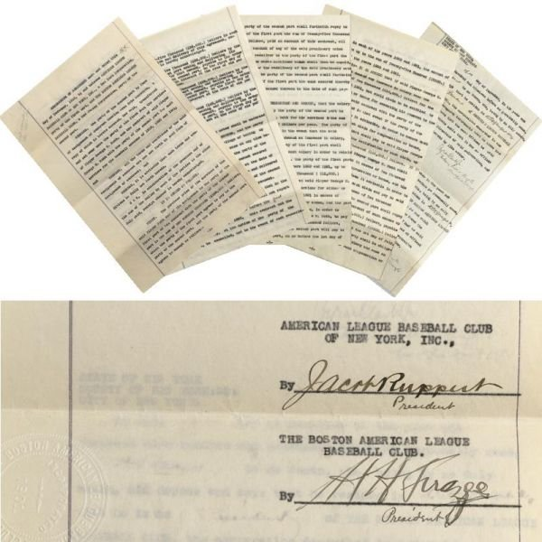 178: Original 1919 Contract Of Sale Of Babe Ruth From T