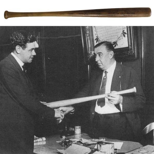 183: Babe Ruth 1920 Game Bat Signed and Presented to Ch