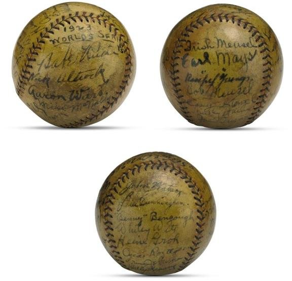186: 1923 World Series Ball Signed by Yankees/Giants in