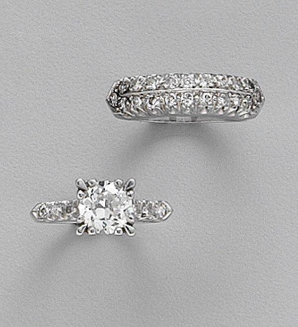 242: PLATINUM & DIAMOND RING AND BAND RING  R