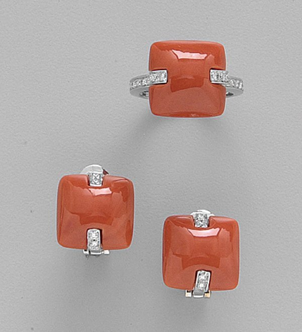 249: PAIR OF 18K WHITE GOLD, CORAL AND DIAMON