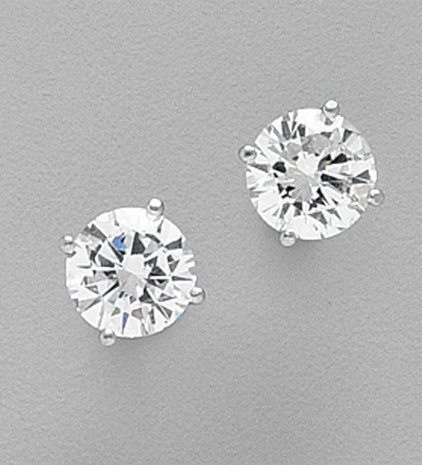 486: PAIR OF PLATINUM AND DIAMOND STUD EARRIN