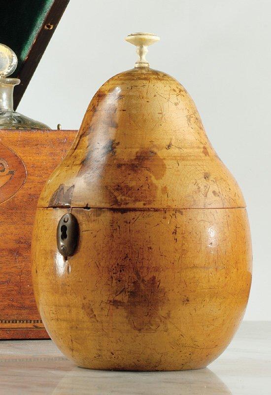 2: A George III fruitwood pear form tea caddy Circa 180