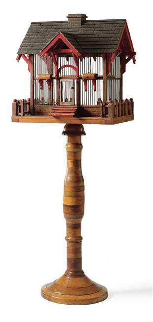 A Carved, Painted and Assembled Pine Birdcage, Amer
