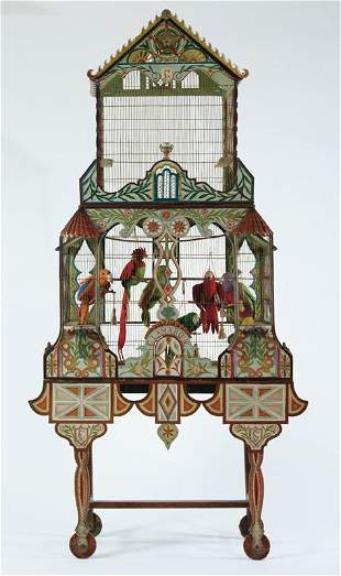 A Continental polychrome decorated bird house late