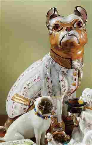 A Gallé faience figure of a seated bulldog circa 18