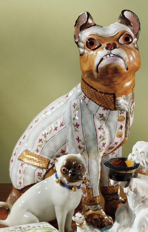 20: A Gallé faience figure of a seated bulldog circa 18