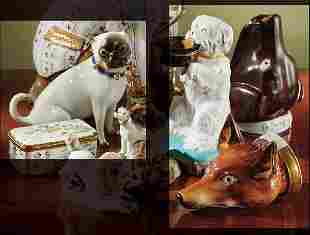 A MEISSEN FIGURE OF A SEATED PUG AND TWO ENGLISH ST