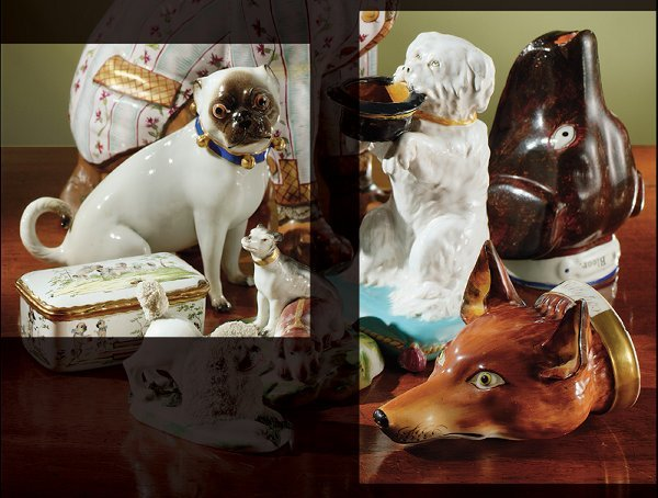 21: A MEISSEN FIGURE OF A SEATED PUG AND TWO ENGLISH ST