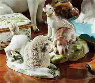 A CHELSEA PORCELAIN BUSTO OF WINTER AND A GROUP OF