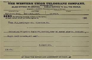 Katharine Houghton Hepburn Birth Announcement, 1907