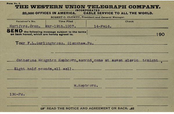1: Katharine Houghton Hepburn Birth Announcement, 1907