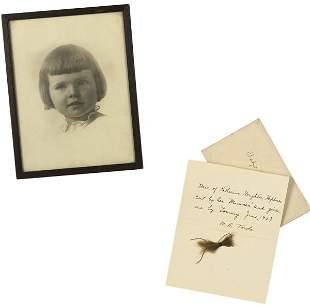 Childhood Photograph and Baby Hair, Circa 1909