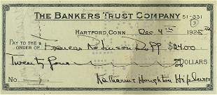 A Cancelled Check to Frances Robinson-Duff
