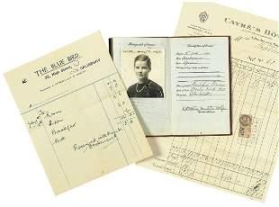 First Passport and Hotel Receipts, 1927