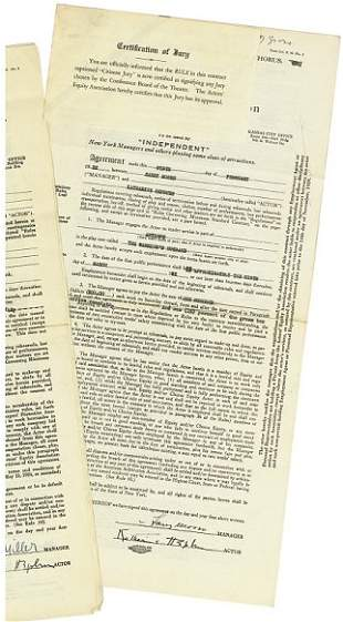 """A Contract for """"The Warrior's Husband,"""" 1932"""