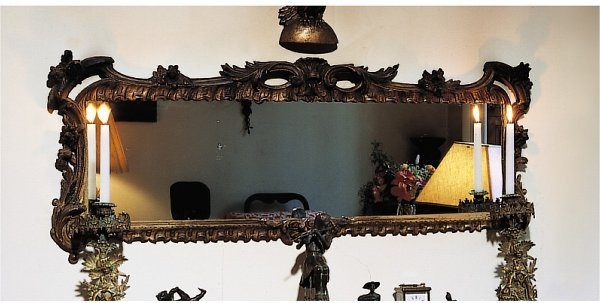 224: A GEORGE III STYLE GILTWOOD OVERMANTEL MIRROR