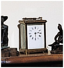 226: A FRENCH GILT-BRONZE AND ENAMELED CARRIAGE CLOCK