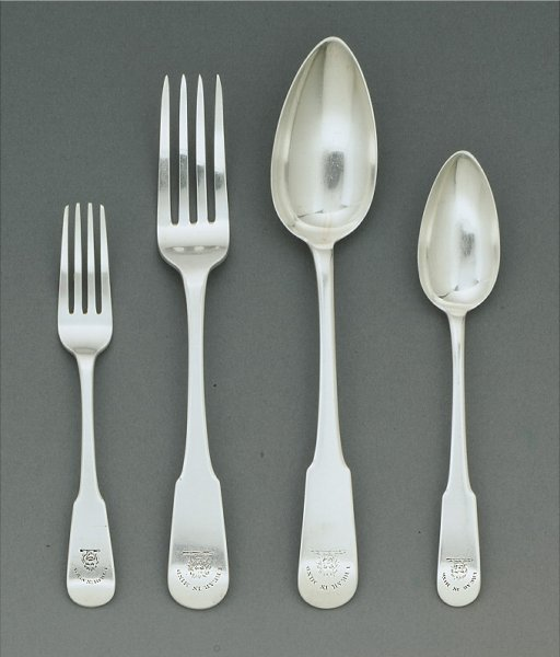 458: A GEORGE III SILVER PART FLATWARE SERVICE, MATTHEW