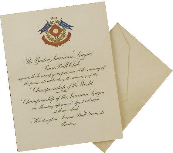 3: Engraved Invitation to Boston's 1903 Championship Fl