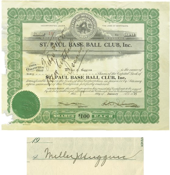 15: Miller Huggins Signed 1925 Baseball Stock Certifica