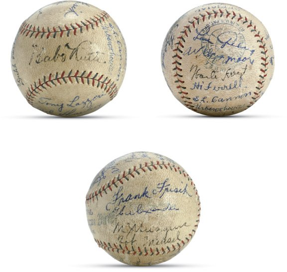 21: 1927 New York Yankees Signed Ball with 7 others inc