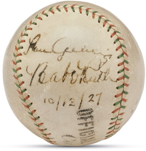 22: Baseball Signed by Babe Ruth & Lou Gehrig Four Days