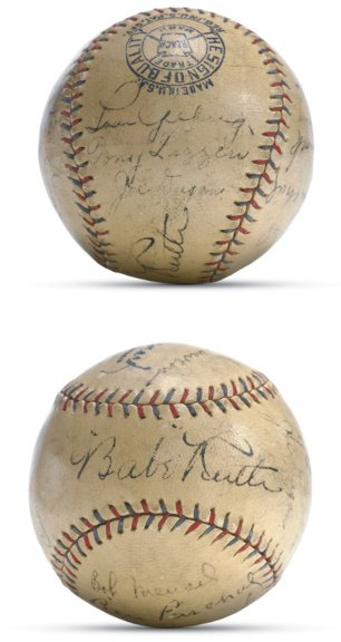 24: 1928 New York Yankees Signed Baseball with Ruth and