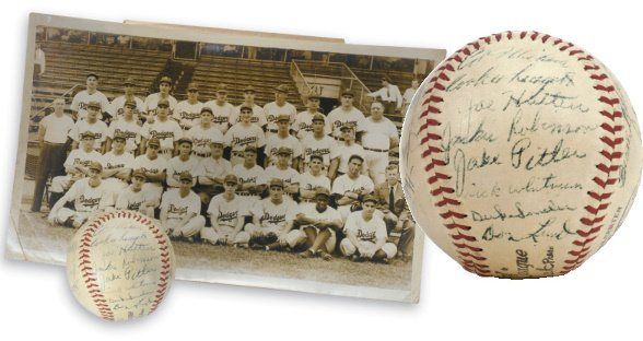 68: 1947 Brooklyn Dodgers Team Signed Baseball and Team