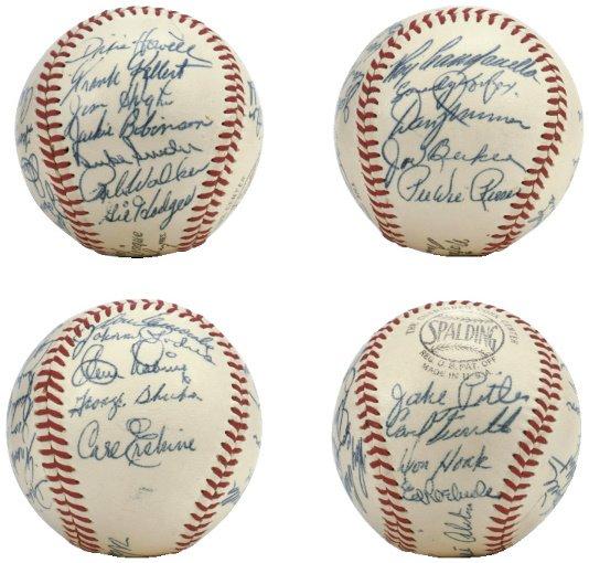 74: 1955 Brooklyn Dodgers Team Signed Baseball PSA Grad