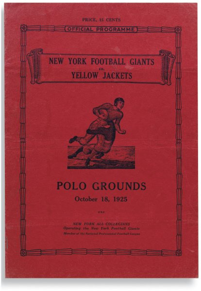 174: 1925 Program from First New York Football Giants H