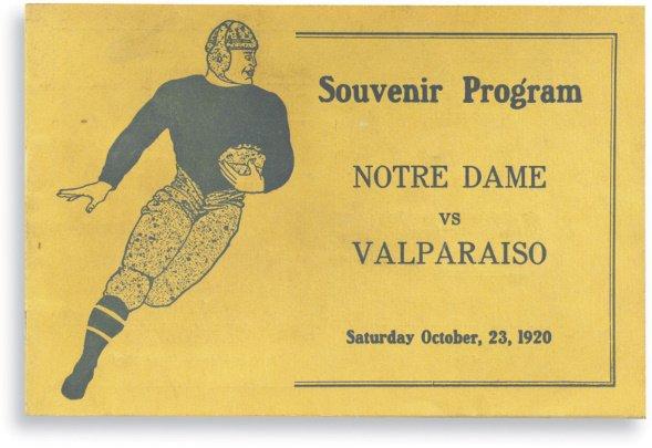 175: 1920 Notre Dame vs. Valparaiso Program featuring G