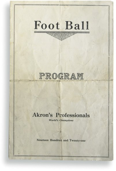 177: Program From the First NFL Season - Akron Pros ver