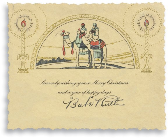 191: Babe Ruth 1920's Signed Christmas Card