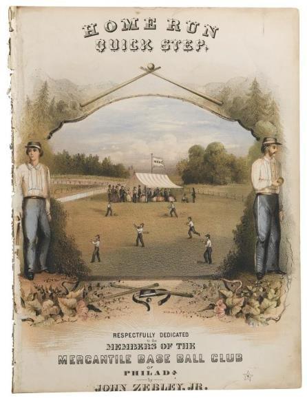 "4: 1861 ""Home Run Quick Step"" Baseball Sheet Music   On"