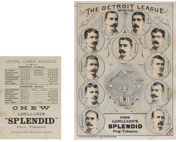6: 1886 Detroit Lorillard Team Card   One of four cards