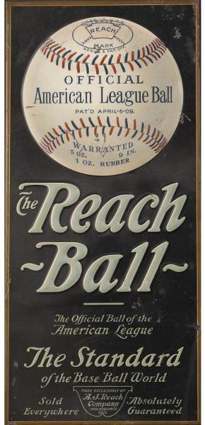 9: Circa 1910 Reach Tin Litho Baseball Advertising Disp