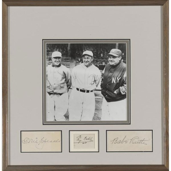 21: Tris Speaker, Ty Cobb, Babe Ruth Autograph Display